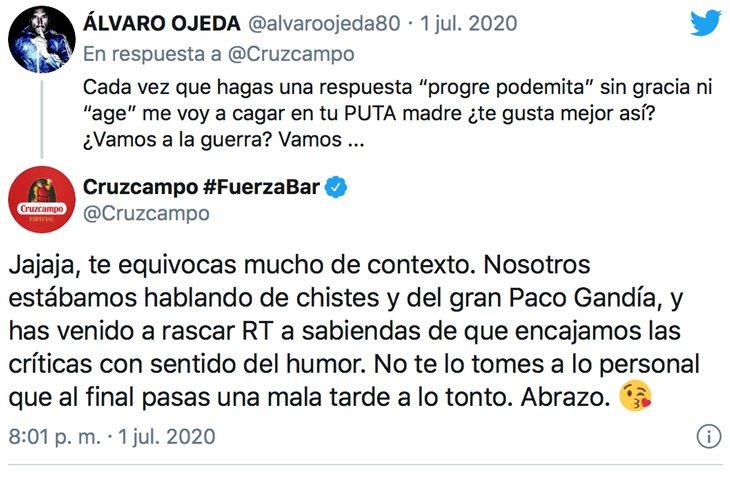 Álvaro Ojeda, ofendidito ante el zasca de Cruzcampo
