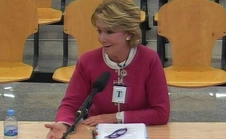 Esperanza Aguirre durante la comparecencia en la Audiencia Nacional, como testigo en el macrojuicio de Gürtel