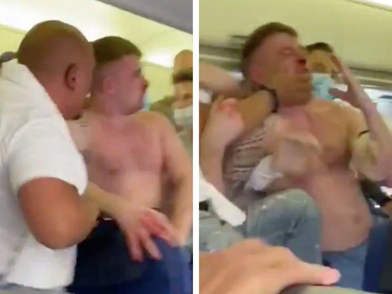 Brutal pelea en un vuelo a Ibiza por dos pasajeros ebrios que se negaban a llevar mascarilla