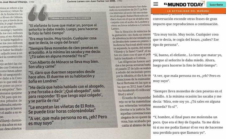 Las frases de El Mundo Today y las publicadas en El Faro de Vigo y La Nueva España