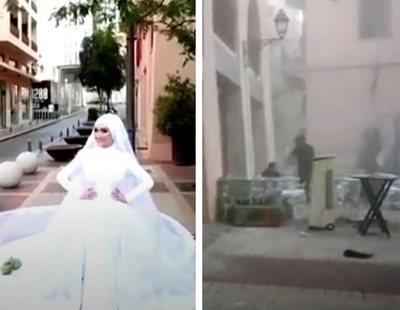 El impresionante vídeo de una novia en una boda en plena explosión en Beirut
