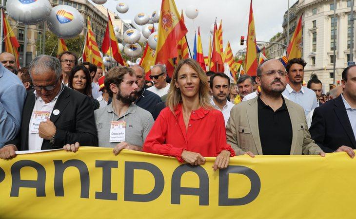 Cayetana Álvarez de Toledo en la manifestación del Día de la Hispanidad en Barcelona