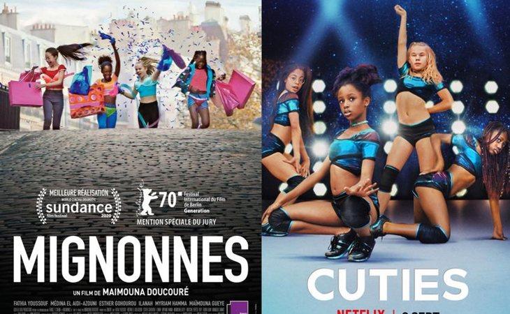 Cartel original de la película 'Cuties' y el utilizado por Netflix
