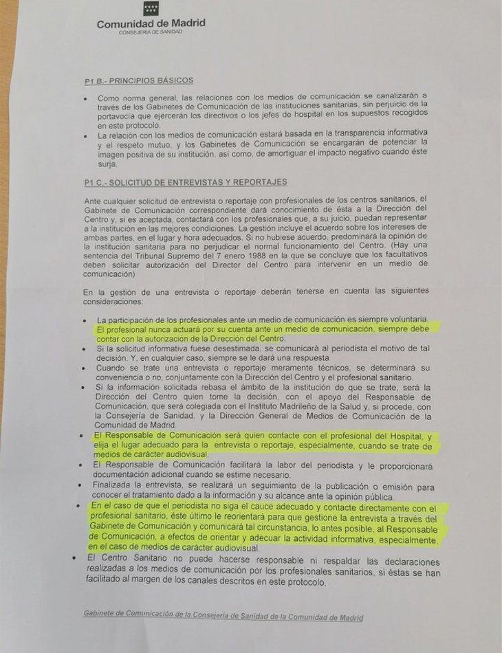 Circular emitida por la Comunidad de Madrid para silenciar las quejas de docentes y sanitarios
