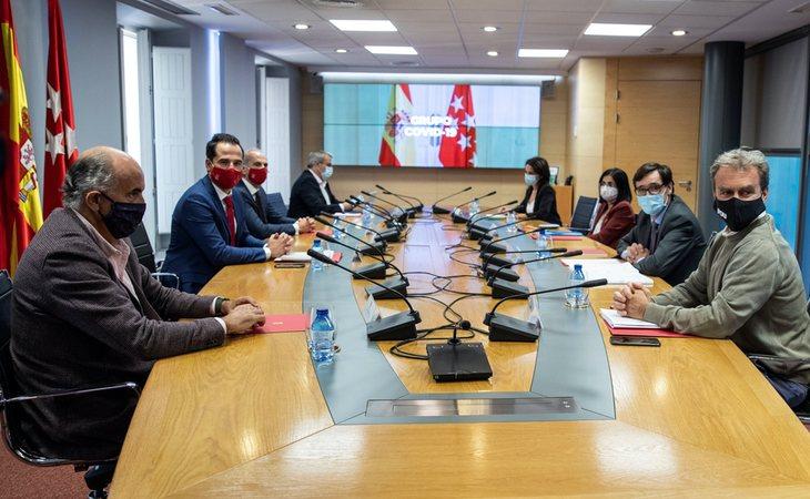 Reunión del Grupo Covid-19 en Madrid entre el ministro de Sanidad, Salvador Illa; el director del Centro de Coordinacion de Alertas y Emergencias Sanitarias, Fernando Simon; la ministra de Política Territorial, Carolina Darias; el vicepresidente de la Comunidad de Madrid, Ignacio Aguado; y el consejero de Sanidad en la Comunidad de Madrid, Enrique Ruiz Escudero