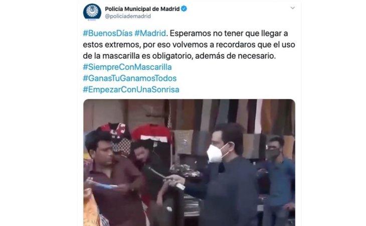 Tuit amenazante de la Policía Municipal de Madrid para promover el uso de la mascarilla