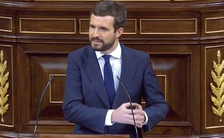 Pablo Casado (PP), contundente con Abascal: 'No quiere cambiar al gobierno, que sabe que no lo va a conseguir, sino suplantar al PP'