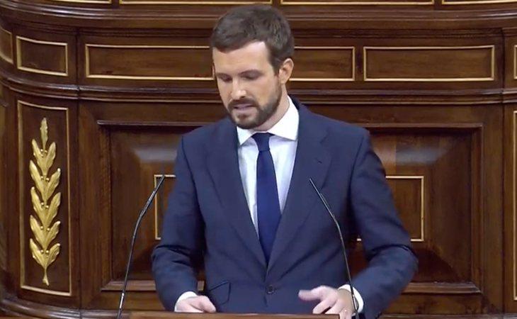 Pablo Casado (PP): 'O VOX o España. Esta moción es una mentira más de VOX para que Sánchez siga en La Moncloa. Señor Abascal, no somos ...