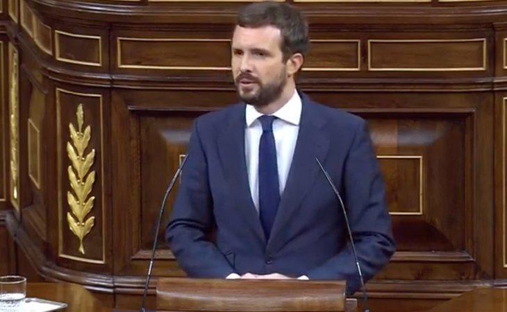 Pablo Casado (PP), a Abascal: 'Viene aquí con una moción de censura al precio de que hoy salga victorioso el señor Sánchez'