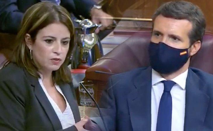 Adriana Lastra (PSOE) da la enhorabuena a Pablo Casado por su discurso contra VOX. 'Aunque vaya teatrillo se ha montado', añade