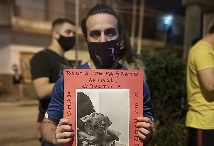 Manifestación para exigir justicia tras el asesinato del perro