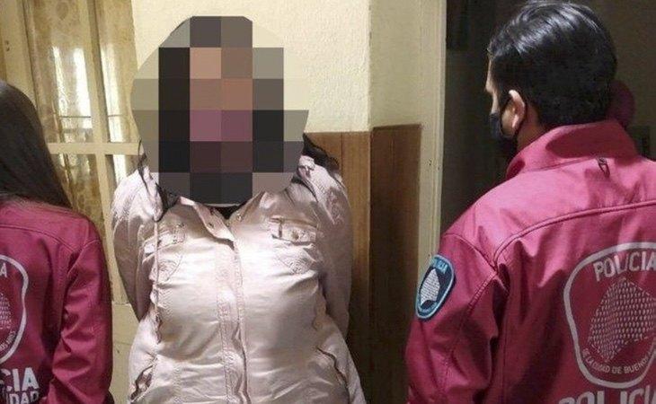 La acusada, durante su detención