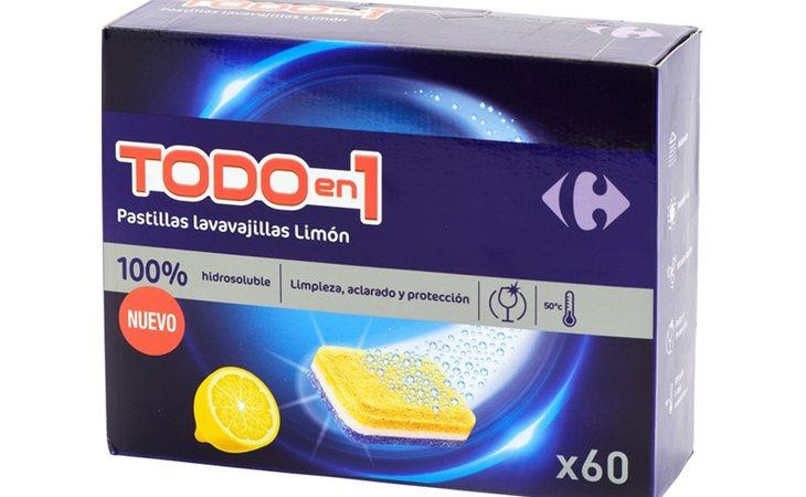 Carrefour Todo en 1 Limón resalta por las instrucciones en el etiquetado