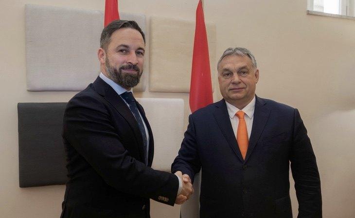 Santiago Abascal junto al presidente húngaro, Viktor Orbán