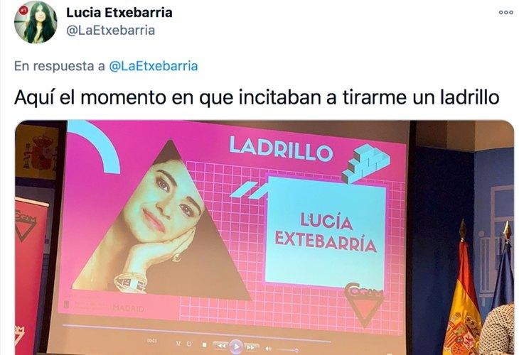 Lucía Etxebarria se inventa que le quieren tirar un ladrillo por darle un premio por su transfobia