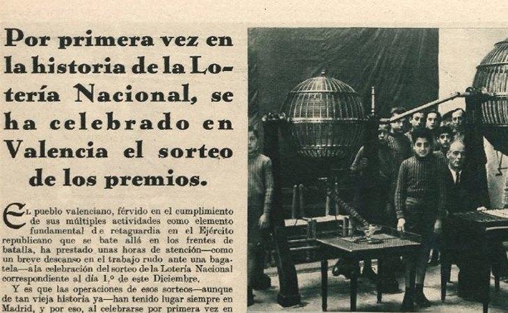 Recorte de un periódico de la época, anunciando la Lotería de Navidad de Valencia en 1936