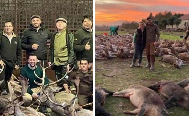 Los cazadores posan con los animales abatidos