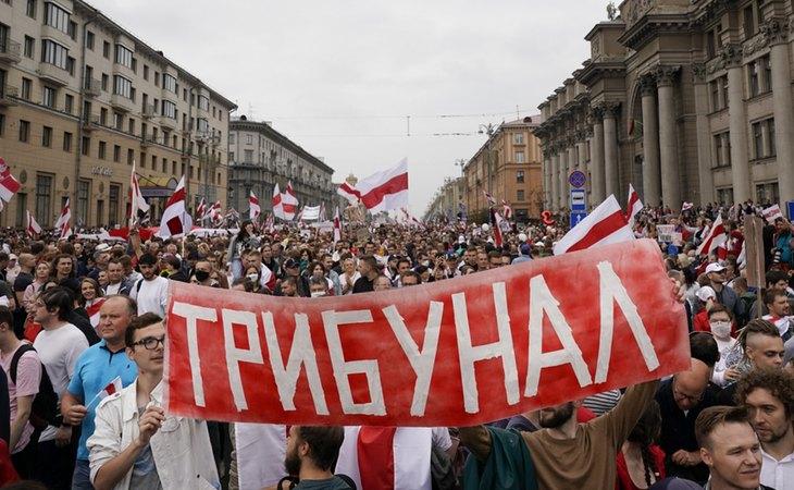 Protesta masiva en Minsk, capital de Bielorrusia, en contra del Gobierno de Aleksandr Lukashenko, al que acusan de fraude electoral