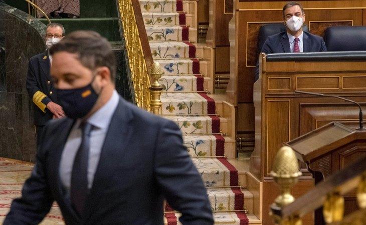 Santiago Abascal, durante la fracasada moción de censura de VOX contra Pedro Sánchez