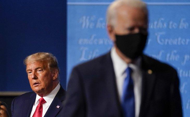 Donald Trump y Joe Biden, durante el debate presidencial