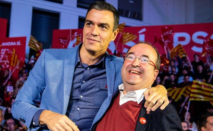 Pedro Sánchez y Miquel Iceta en un acto de campaña antes de las elecciones generales del 10-N