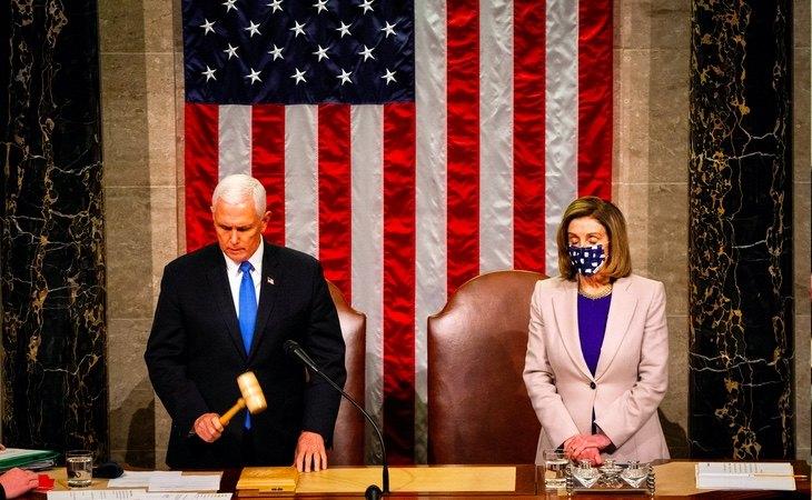 Sesión celebrada en el día posterior a los disturbios para ratificar la victoria de Joe Biden
