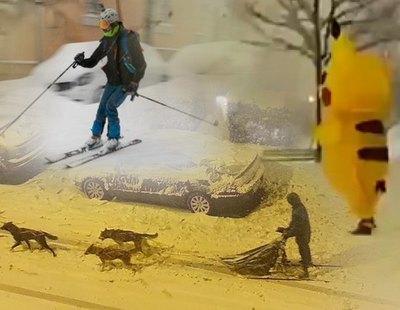 Las imágenes más insólitas de la nevada: esquiando en Gran Vía, trineos tirados por perros o un Pikachu desorientado