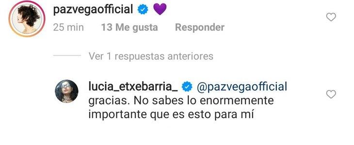 Mensaje de apoyo de Paz Vega en la publicación tránsfoba de Lucía Etxebarria