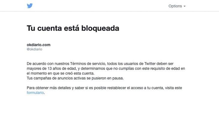 El mensaje que recibe la redacción de OKDiario al intentar acceder al perfil de Twiter | OKDiario