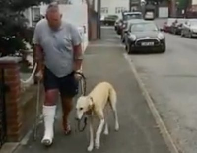 Se rompe una pierna y su perro finge una lesión para solidarizarse con él