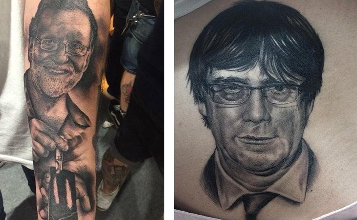 Tatuajes de las caras de Mariano Rajoy y Carles Puigdemont