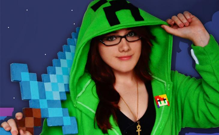 Nia adora jugar a Minecraft