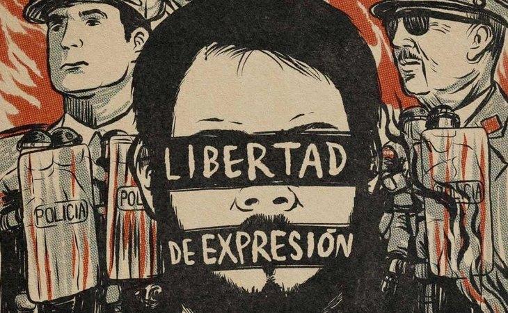 Cartel diseñado por Mr Ze por la libertad de expresión denunciando la el caso de Pablo Hasel