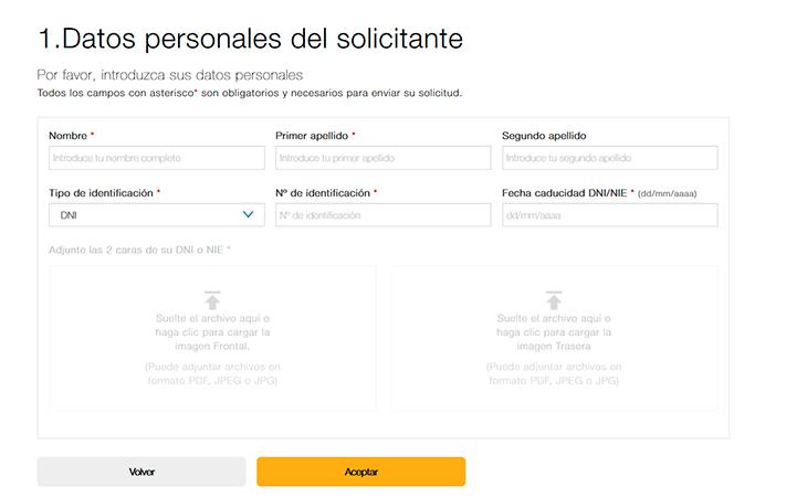 Adjuntar el formulario junto a la información personal
