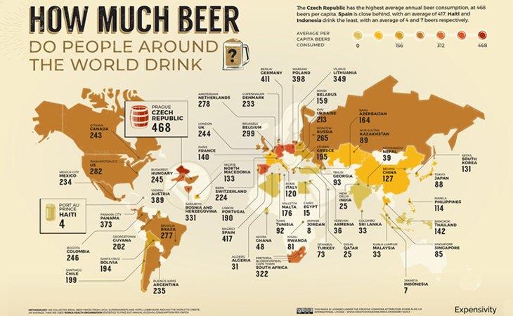 Uno de los mapas del estudio revela el consumo de cerveza de cada país
