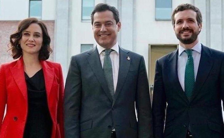Isabel Díaz Ayuso, presidenta de la Comunidad de Madrid: Juanma Moreno Bonilla, presidente de Andalucía; y Pablo Casado, presidente del PP