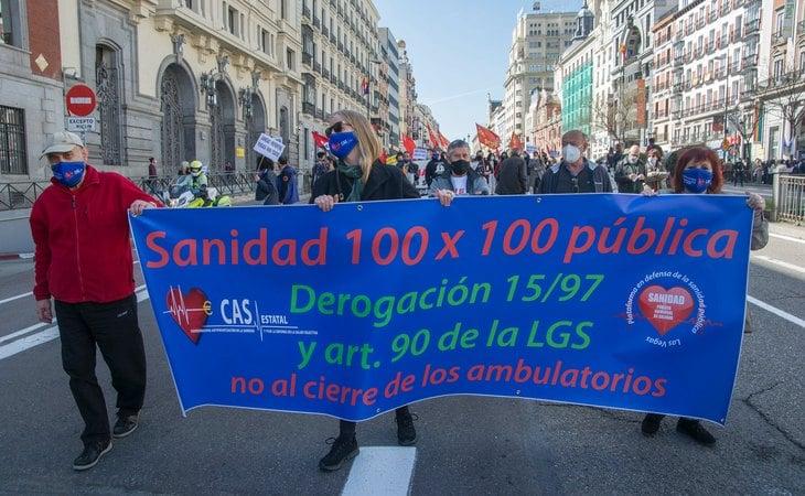 Manifestación en Madrid en defensa de la sanidad pública