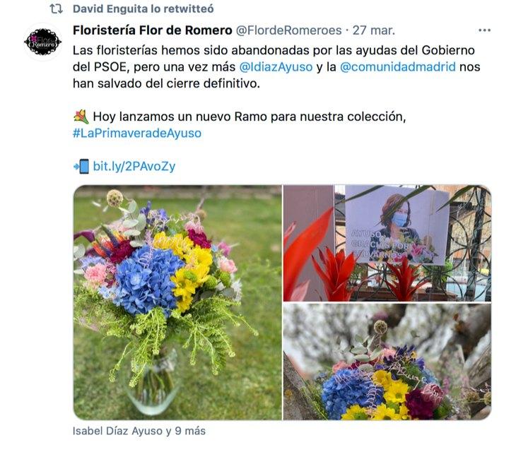 Ramo de flores dedicado a Isabel Díaz Ayuso