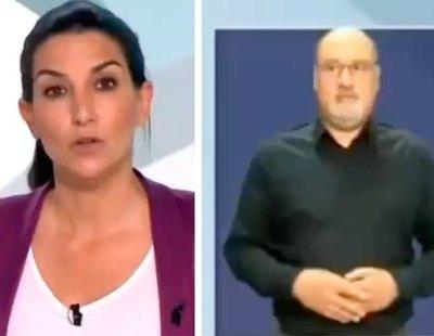 El gesto viral del intérprete de lengua de signos en el debate cuando Rocío Monasterio habla de niños migrantes