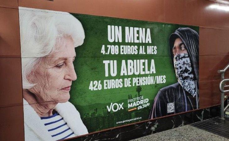 Cartel electoral de VOX en contra de los menores extranjeros no acompañados (menas)