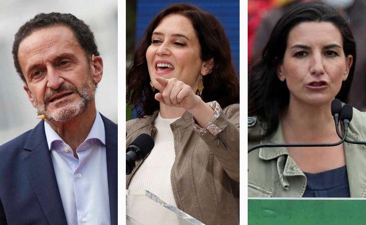 Edmundo Bal, candidato de Ciudadanos; Isabel Díaz Ayuso, candidata del PP; y Rocío Monasterio, candidata de VOX