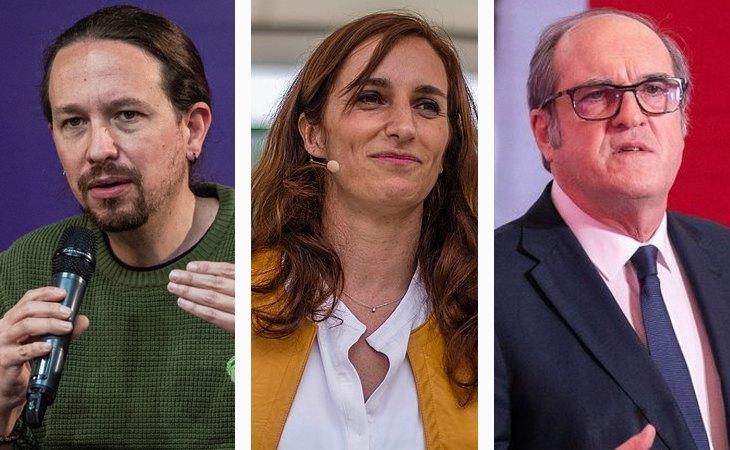 Pablo Iglesias, candidato de Unidas Podemos; Mónica García, candidata de Más Madrid; y Ángel Gabilondo, candidato del PSOE