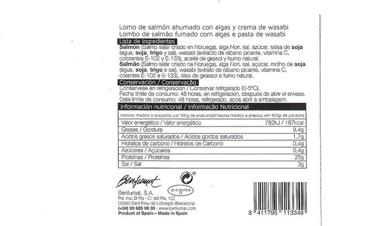 Así es la etiqueta del producto retirado