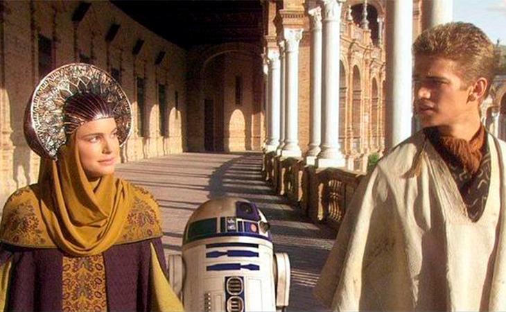 Padme, Anakin y R2D2 paseando por Sevilla