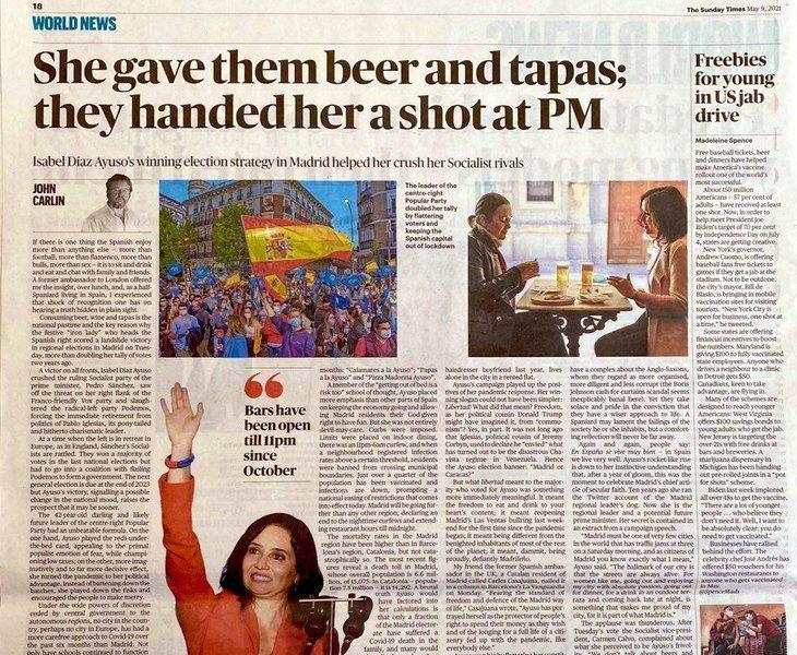Artículo dedicado a Ayuso en The Times