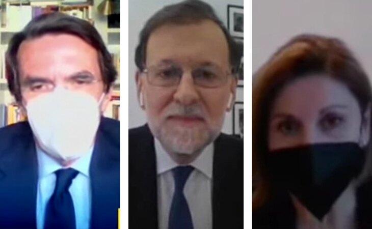 Aznar, Rajoy y Cospedal durante sus declaraciones en la Audiencia Nacional