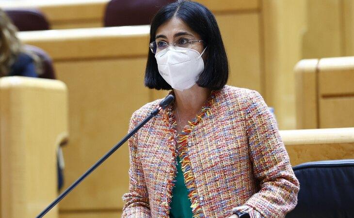 Carolina Darias, ministra de Sanidad, compareciendo en el Senado