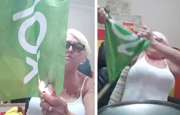 La 'youtuber' franquista Luisa Garrido quema una bandera de VOX tras enfrentarse a una diputada que le señaló por un bulo