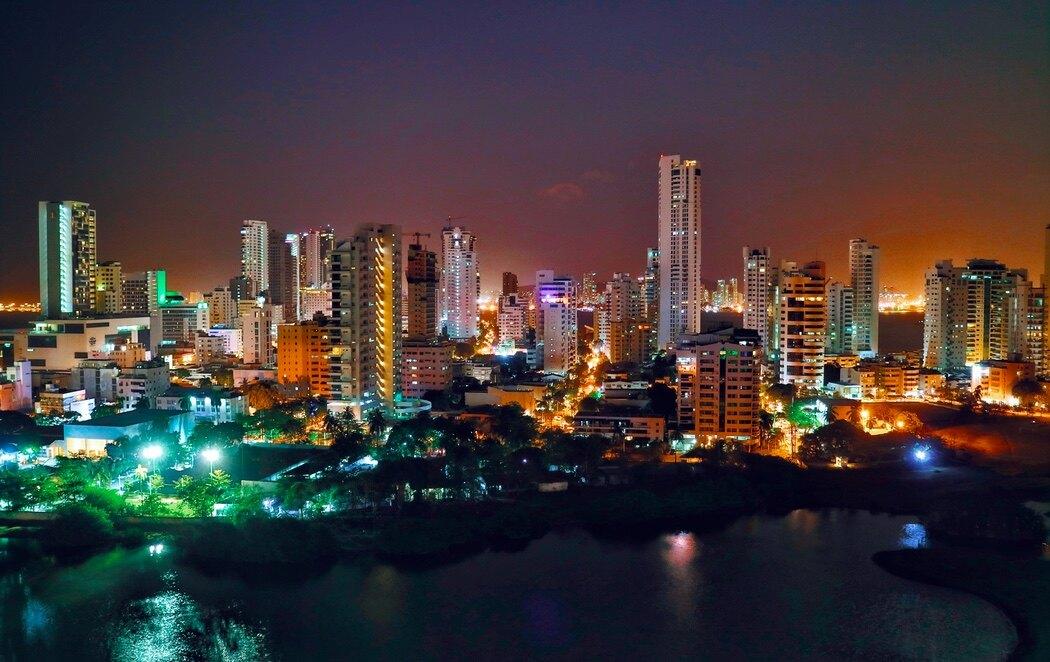 Vista nocturna de Cartagena