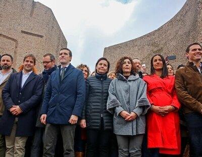 Los asistentes a la manifestación de Colón: PP, VOX y Cs, junto a grupos ultracatólicos, homófobos y franquistas